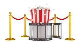 Film and popcorn. A film and popcorn on a background of pillars with a red rope. 3d rendering Royalty Free Stock Photo
