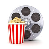 Film and popcorn. Symbol (done in 3d Royalty Free Stock Images