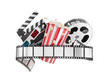 Film and popcorn. On a white background Stock Images