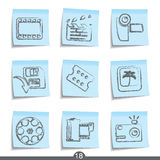 Film post it icons..series no.17. Set of nine film post it icons from a series Royalty Free Stock Photos