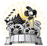 Film Premiere. Poster with Film Reels and Film Slate Royalty Free Stock Photography