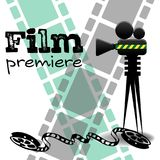 Film premiere concept. Abstract colorful background with film projector, film reels and the text film premiere written with black letters Vector Illustration