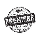 Film premiere rubber stamp. Black grunge rubber stamp with the word premiere written inside the stamp. Film premiere stamp Stock Photos