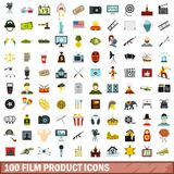 100 film product icons set, flat style. 100 film product icons set in flat style for any design vector illustration Vector Illustration