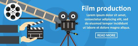 Film production banner horizontal concept. Flat illustration of film production banner horizontal vector concept for web Stock Photo