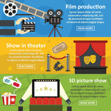 Film production banner horizontal set, flat style. Film production banner horizontal concept set. Flat illustration of 3 film production vector banner horizontal Royalty Free Stock Image
