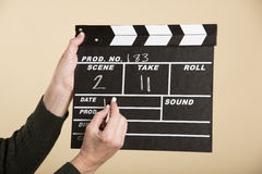 Film production clapper board Stock Images