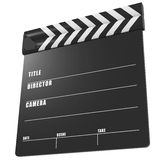 Film production time sync clapper. Clapboard or clapper with  lowered arm on white background Royalty Free Stock Photos