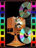 Film projecter show move from cd disk. On 3d images abstract render of film projecter show move from cd disk and color frame stock illustration