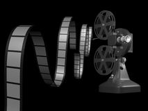 Film projector with film. On black background 3d render Royalty Free Stock Image
