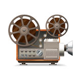 Film Projector Realistic. Realistic professional film projector profile isolated on white background vector illustration Royalty Free Stock Photos