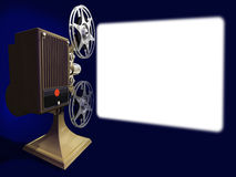 Film projector show film on empty screen. On 3d image render of film projector show film on screen Royalty Free Stock Photos