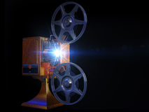 Film projector show move. On 3d image render of film projector show move on black background Royalty Free Stock Image