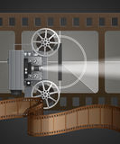 Film projector. Very elaborate vintage film projector, with counter and film strip Stock Images