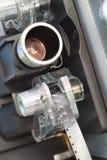 Film-Projektor Front Carraige Lens der Weinlese-8mm Stockfoto