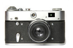 Film rangefinder camera. Old Russian film rangefinder camera isolated on white background royalty free stock image
