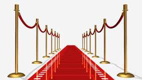 Film Red Carpet. 3D rendered film red carpet isolated in white background Stock Image