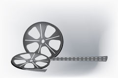 Film reel. Cinema video film isolated on white background Stock Photos