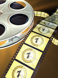 Film reel. Movie film reel on dark background. Countdown shown on celluloid. Digital illustration Royalty Free Stock Photography