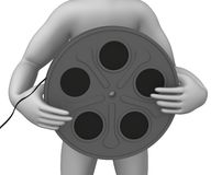 Film reel. 3d render of cartoon character with film reel Stock Photo