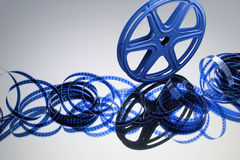 Film Reel. Movie Film Reel with Reflection Stock Photo