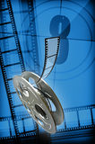 Film reel. On abstract cinema background vector illustration