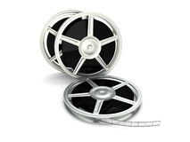 Film Reel. 3D rendered Illustration. Isolated on white Stock Image