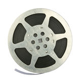 Film reel. 16mm vintage motion picture film reel, isolated on white background Stock Image