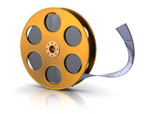 Film reel. 3d illustration of golden film reel, over white background vector illustration