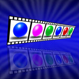 Film Reel. The Abstraction from film with varicoloured ball in each frame royalty free illustration
