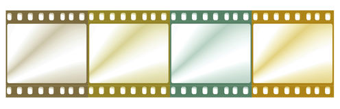 Film reel. 35 mm film negative with color lighting Stock Photo