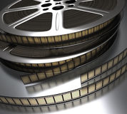 Film Reel. Two film-reel on the reflective surface vector illustration
