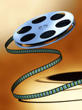 Film reel. Unwinding film reel over a warm background. Digital illustration stock illustration