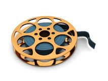 Film reel. 3d illustration of golden film reel over white background Royalty Free Stock Photo