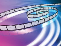 Film Reel on Abstract Liquid Wave Background Royalty Free Stock Photo
