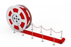 Film Reel as Red Ceremony Reward Carpet. 3d Rendering. Film Reel as Red Ceremony Reward Carpet on a white background. 3d Rendering Royalty Free Stock Photos