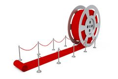 Film Reel as Red Ceremony Reward Carpet. 3d Rendering. Film Reel as Red Ceremony Reward Carpet on a white background. 3d Rendering Stock Photos