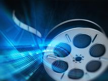Film reel background. In blue color tones stock illustration