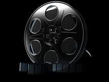 Film reel. On black background. 3d illustration vector illustration