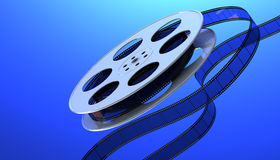 Film reel. Reel of film on a blue background. 3D render Royalty Free Stock Image