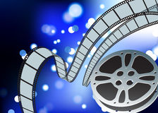 Film reel blue glow internet background Royalty Free Stock Image