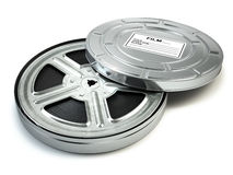 Film reel and box. Video, movie, cinema vintage concept. Royalty Free Stock Images