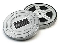 Film reel and box. Video, movie, cinema vintage concept. Royalty Free Stock Image