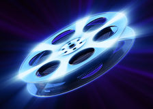 Film reel. With a bright glow on a dark background. 3D render vector illustration