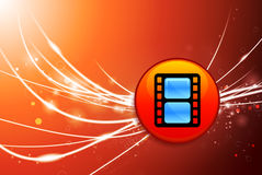 Film Reel Button on Red Abstract Light Background. 