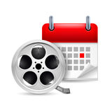 Film reel and calendar. Icon of film reel and calendar with marked day. Going to cinema stock illustration