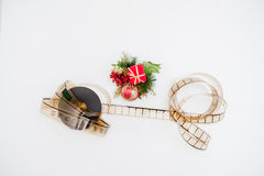 Film reel with christmas decoration Stock Photos