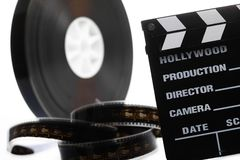 Film reel and cinema clap Royalty Free Stock Image
