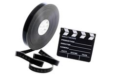 Film reel and cinema clap Royalty Free Stock Photo