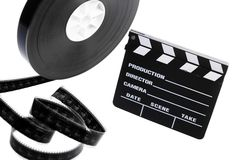 Film reel and cinema clap Royalty Free Stock Images